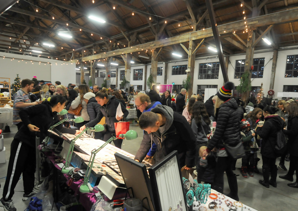 Shipyards Christmas Market People Shopping at Local Booths North Vancouver