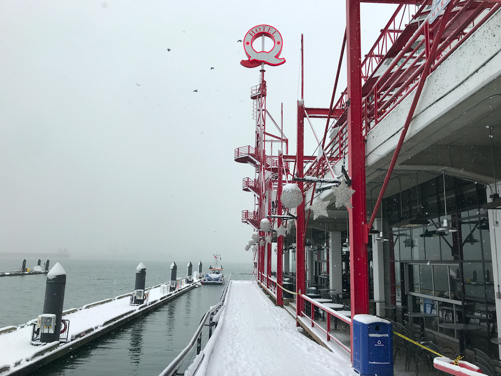 Lonsdale Quay North Vancouver Snow Fog Waterfront Boardwalk January 2020