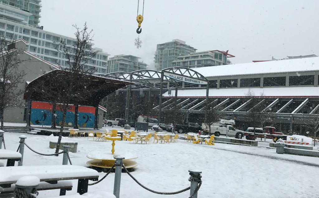 Shipyards District Lower Lonsdale North Vancouver January 2020 snowing