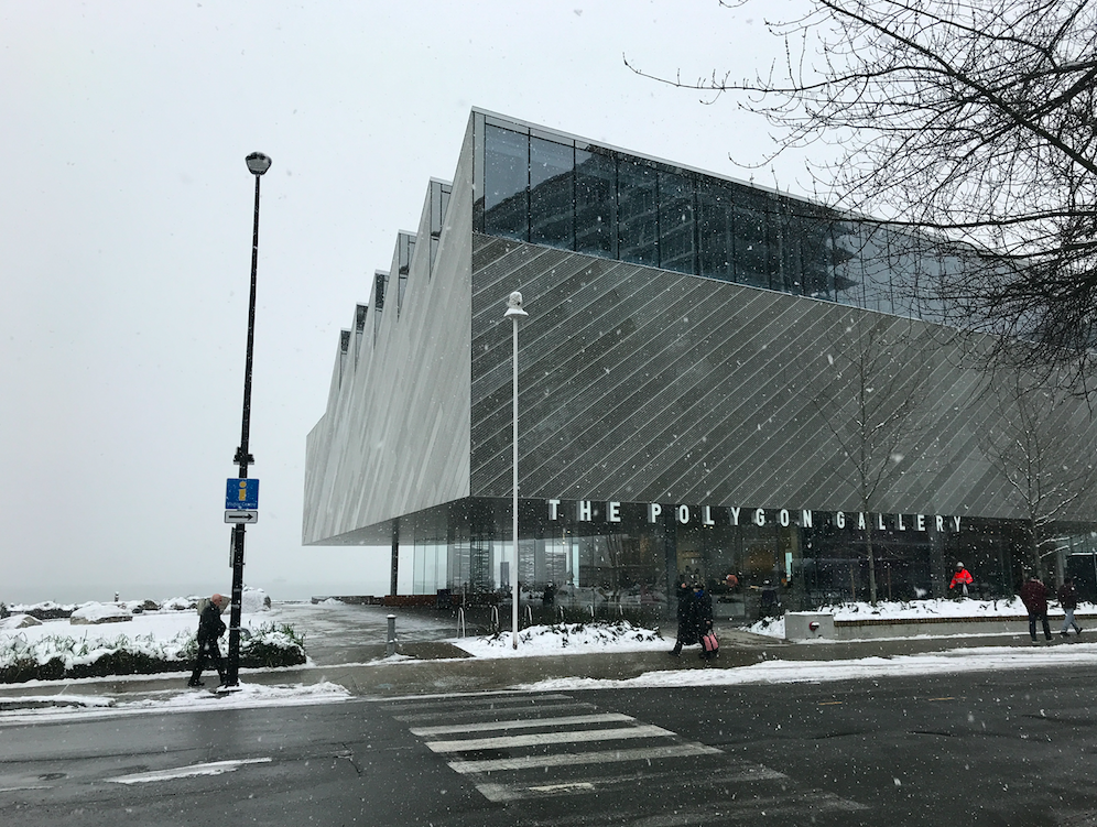 Snowing at the Lower Lonsdale Polygon Gallery in North Vancouver January 2020