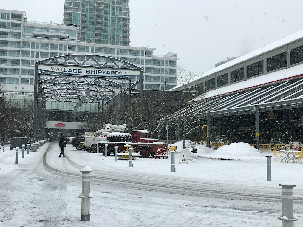 Wallace Shipyards Snowing January 2020 North Vancouver