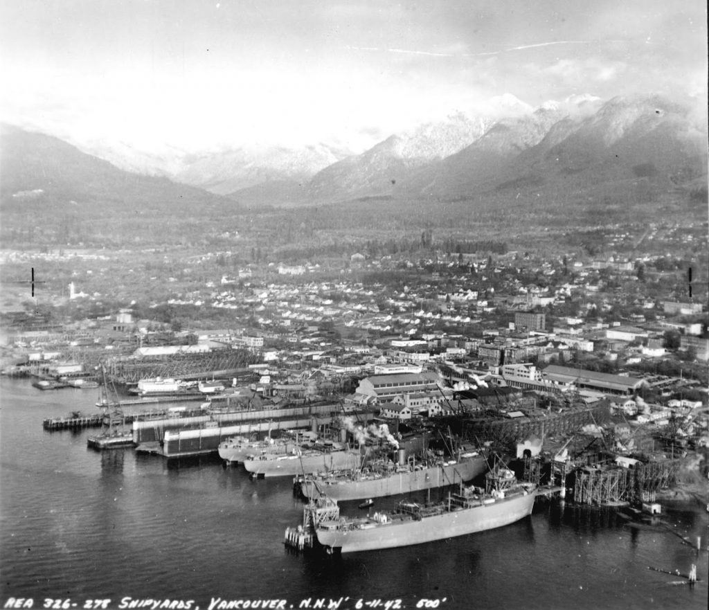 NVMA North Vancouver Museum Archives Lower Lonsdale Shipyards North Vancouver Mountains Ship Building